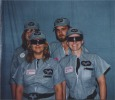 Tri Space Academy Cadets. ''Lyraine'' (Maureen Sak) in back, ''Bumps'' (Gail Turner) in front, Ronnie Sak in back Rocky Macelli front right.
