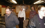 Next: Someone in a plaid shirt; Greg Barrett, Bill Ellern, someone else; Kris Bauer (overexposed) on the right.