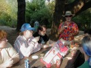 Previous: Deirdre Saoirse Moen at left, Randy Smith in blue cap, someone else in black t-shirt, Keith Oshins in red shirt at end, Carl Zwanzig (Z!) foreground right.