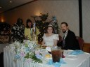 Len Hampton, Mary Hampton in yellow, darcee golden, and Sean Cashman.  (18-Aug-2002)