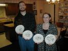 Next: Michael Bernstein and Roxanne Gibbs, holding up Rotsler plates.