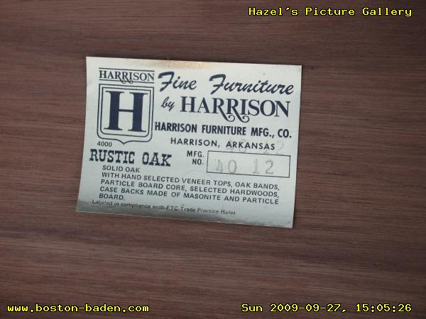 Harrison Furniture Mfg., Co., Harrison, Arkansas. 4000 RUSTIC OAK Mfg. No.  4012. Solid Oak, With Hand Selected Veneer Tops, Oak Bands, Particle Board  Core, ...