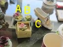 Previous: Coalport brand ceramic flower bowl knickknacks. [113a,b] Porcelain shoe [113c]