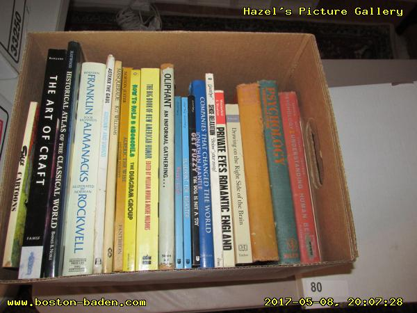 Box 80: Siles Cartoons; The art of craft; Historical atlas of the classical world; Benjamin Franklin Poor Richard's Alamanacks illustrated by Norman Rockwell; Asterix the Gaul; Masquerade by Kit Williams; Alberic the Wise and other journeys; How to hold a crocodile; The big book of American humor; An informal gathering... by Oliphant; Fuzzy Logic by Darby Conley; Blueprint for disaster, by Darby Conley; Get Fuzzy, by Darby Conley; Companies that changed the world; Sense Relaxation: Below Your Mind; Private Eye's Romantic England; Drawing on the Right Side of the Brain; Gessar-Khan: A Legend of Tibet; Psychology; Psychology: Understanding human behavior, McGraw-Hill Book Company, Inc. 1958.