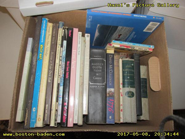 Box 87. The tall tale cat; Low & Inside, by Osborn; George Herriman's Krazy Kat; The Penguin Book of Comics; Browse at Your Own Risk, by George Price; Hello-where did all the people go? by Ronald Searle; Dreams of the Rarebit Fiend; ''There Goes My Baby!'' by Lynn Johnston; Bloom County Babylon; Peter Arno; In Our Time, by Tom Wolfe; The Ladies, God Bless 'em!, by Helen E. Hokinson; Herblock on all fronts; Magill's Quotations in Context; 1776, by David McCullough; A hundred years of blessing; The Christmas Junk Book; Anna Karenina, by Leo Tolstoy; Behold the spirit; The Prince & The Discourses, by Niccolò Machiavelli; Politically, Fashionably, and Aerodynamically Incorrect; 4-wheel Grimmy, Another Mother Goose & Grimm book by Mike Peters; Bizzaro, by Piraro.