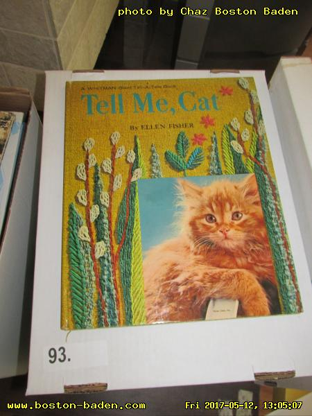 Box 93. Tell Me, Cat. [Not shown:] Simpson, story by Lee Jones, photography by Guy Gillette; Cinderella: An Old Favorite with New Pictures; America's Great Comic Strips: From The Yellow Kid to Peanuts, by Richard Marschall; Immortals of Science Fiction, by David Wingrove; Mutts: The Comic Art of Patrick McDonnell; California: Its Coast and Desert, by Robert Reynolds, text by Ruth Kirk and Archie Satterfield; A Day in the Life of Italy; California, by Kat Atkeson and Dvid Muench; The complete color Polly & Her Pals by Cliff Sterrett; Washington II, photography by Ray Atkeson, text by Archie Satterfield; Smithsonian Timelines of the Ancient World: A visual chronology from the origins of life to AD 1500; Stephen Biesty's Incredible Cross-Sections; The World of The Dark Crystal, by Brian Froud; Colors of the Deep, by Jeffrey L. Rotman; Voyage Across the Cosmos: A journey to the edge of space and time.