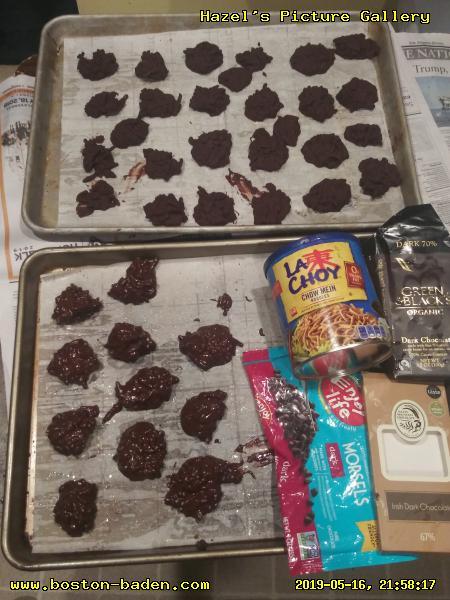 Vegan chocolate pecan haystacks.