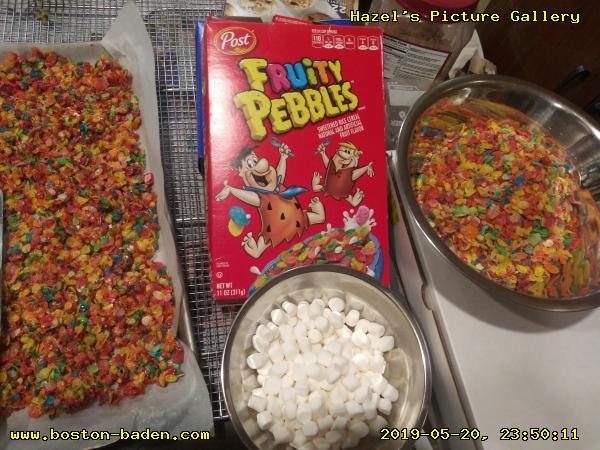 Marshmallow Crispie Treats (GF) made with margarine and Fruity Pebbles.