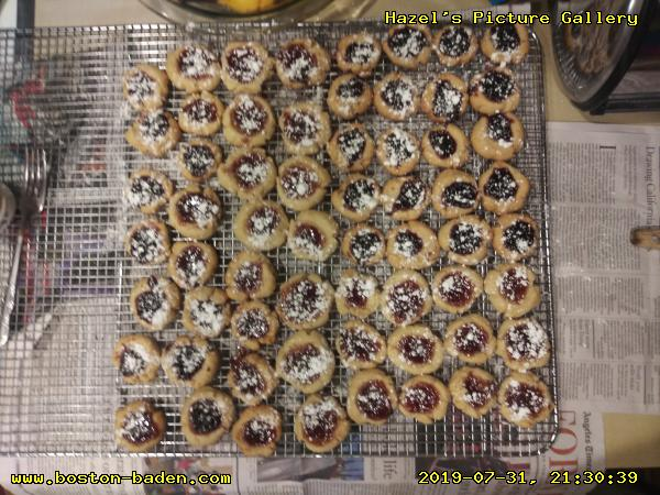 Thumbprint Cookies, with Blackberry Preserves (the darker ones, such as top right) and Grape Jelly (bottom right).
